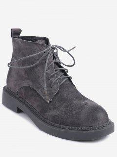 Low Heel Tie Up Short Boots - Gray 36