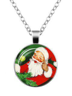 Santa Claus Christmas Printed Round Necklace - Pattern B