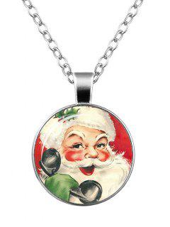 Santa Claus Christmas Printed Round Necklace - Pattern F