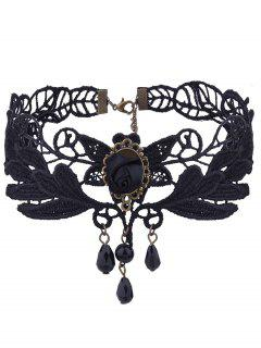 Vintage Rose Flower Knitted Leaf Choker Necklace - Black