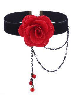 Gothic Flower Teardrop Velvet Choker Necklace - Red