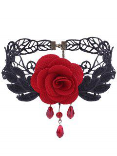 Gothic Knitted Flower Leaf Choker Necklace - Red