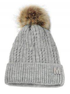Letter M Embellished Velvet Knitted Beanie - Light Gray