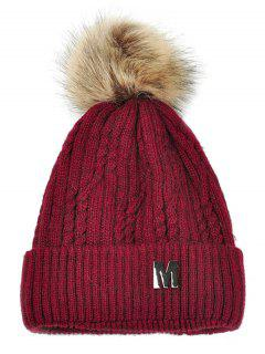 Letter M Embellished Velvet Knitted Beanie - Wine Red