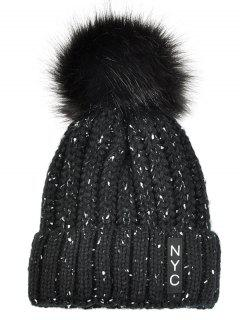 NYC Decorated Crochet Knitted Pom Beanie - Black