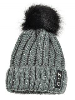 NYC Decorated Crochet Knitted Pom Beanie - Gray