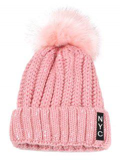 NYC Decorated Crochet Knitted Pom Beanie - Pink