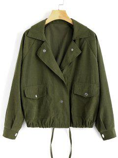 Drawstring Snap Button Jacket - Army Green S