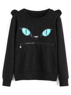 Zippered Cat Print Crew Neck Sweatshirt - Black M