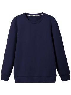 Crew Neck Wool Blend Sweatshirt - Purplish Blue L