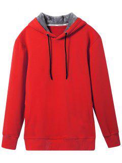 Pullover Aus Weichem Wollfutter Hoodie - Rot L