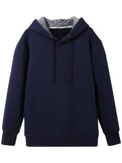 Pullover Soft Woolen Lining Hoodie - Cadetblue L