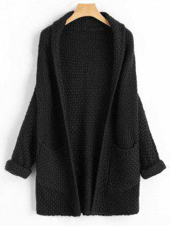Curled Sleeve Batwing Open Front Cardigan - Black