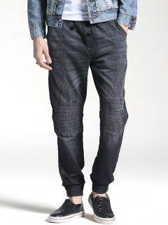 Stitching Faded Jogger Jeans - Black 38