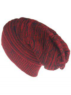 Colormix Striped Pattern Thicken Knitted Slouchy Beanie - Red