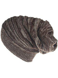 Colormix Striped Pattern Thicken Knitted Slouchy Beanie - Coffee
