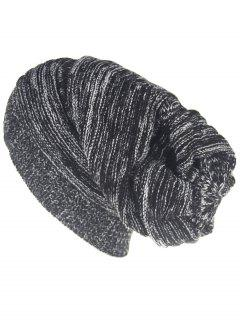 Colormix Striped Pattern Thicken Knitted Slouchy Beanie - Black