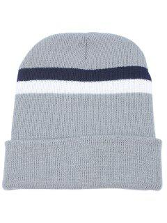 Striped Pattern Flanging Knitted Beanie - Gray