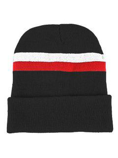 Striped Pattern Flanging Knitted Beanie - Black