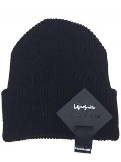 Square Letter Label Decorated Flanging Knitted Beanie - Black