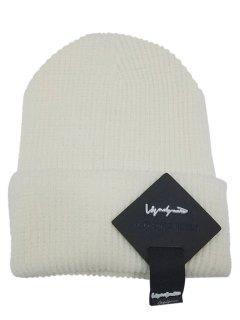 Square Letter Label Decorated Flanging Knitted Beanie - White