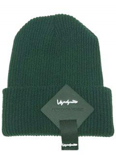 Square Letter Label Decorated Flanging Knitted Beanie - Green