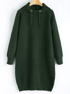 Hooded Sweater Dress - Blackish Green