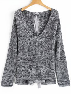 Back Lace Up V Neck Heathered Sweater - Gray