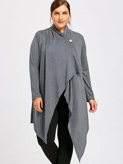 Plus Size One Button Asymmetrical Cardigan - Gray 5xl