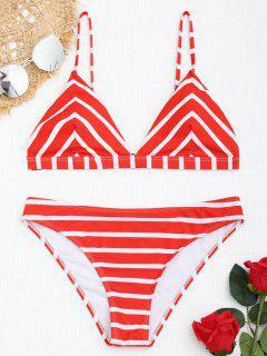Chevron Gestreiftes Cami Bikini Set - Rot Und Weiß S