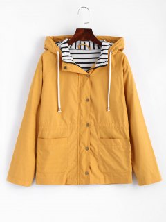 Stripes Panel Snap Button Hooded Jacket - Mustard M