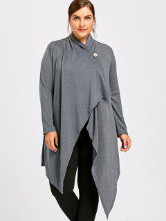 Plus Size One Button Asymmetrical Cardigan - Gray 3xl