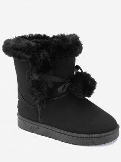 Bowknot Pompom Snow Boots - Black 39