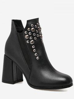 High Heel Studs Boots - Black 35