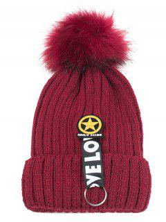 Letter And Star Embellished Flanging Knitted Beanie - Wine Red