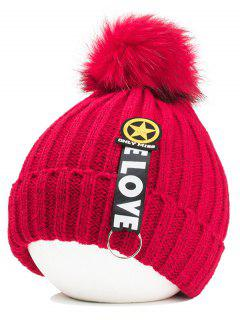 Letter And Star Embellished Flanging Knitted Beanie - Red