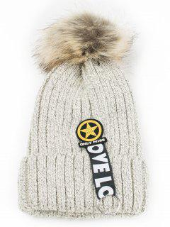 Letter And Star Embellished Flanging Knitted Beanie - Beige