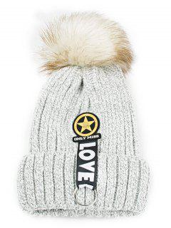Letter And Star Embellished Flanging Knitted Beanie - Light Gray