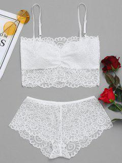 Sheer Crochet Lace Bra And Panties Set - White L