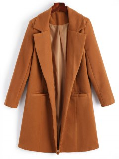 Lapel Open Front Wool Blend Coat - Light Brown M