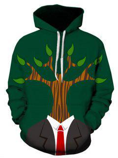 Hooded 3D Tree Man Print Pullover Hoodie - 3xl