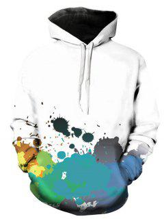 Hooded 3D Colorful Paint Splatter Print Pullover Hoodie - Blue M