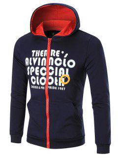 Contrast Trim Fleece Graphic Hoodie - Purplish Blue 2xl