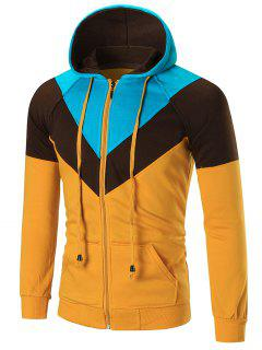 Casual Colorblocked Zip Up Hoodie - Yellow 2xl