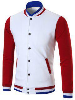 Color Block Slim Uniform Baseball Jacket - White L
