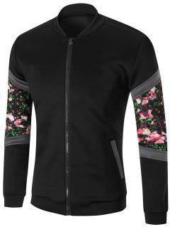 Zip Front Sleeve Floral Printed Jacket - Black L