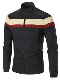 Zip Pockets Color Block Jacket - Black 2xl