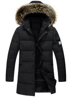 Detachable Faux Fur Hood Padded Coat - Black 2xl