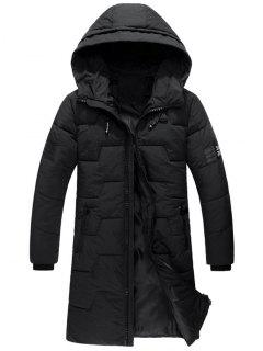 Zip Up Flag Patch Hooded Quilted Coat - Black L