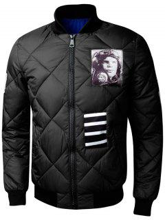 Zip Up Graphic Quilted Bomber Jacket - Black L